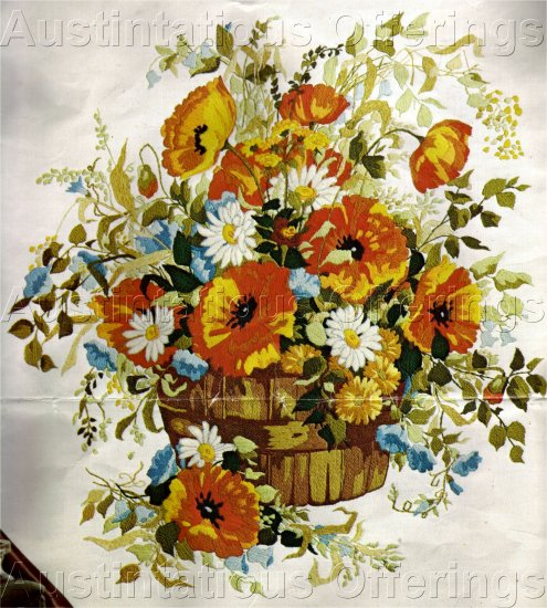 RARE SUMMER POPPIES & BLUEBELLS CREWEL EMBROIDERY KIT FLORAL BOUQUET