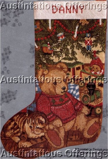 RARE CAROL BRYAN CHRISTMAS NEEDLEPOINT STOCKING KIT TEDDY TRAIN CAT