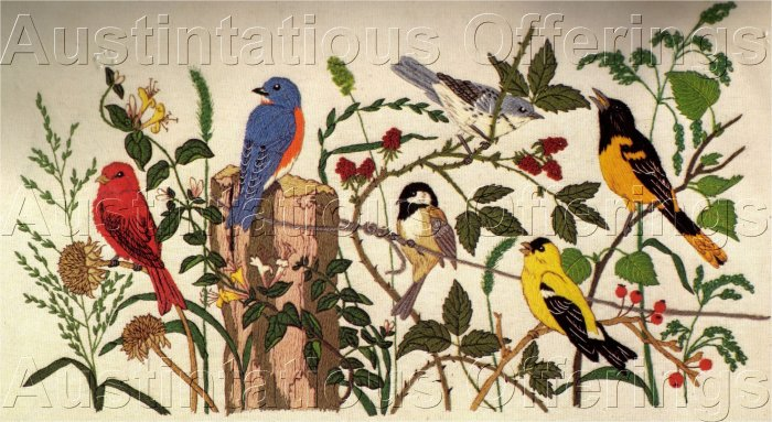 RARE POWELL SONGBIRDS CREWEL EMBROIDERY KIT ORIOLE BLUEBIRD & MORE!