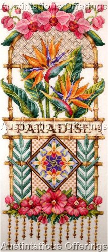 RARE ORTON BIRD OF PARADISE TROPICAL ORCHID CROSS STITCH KIT