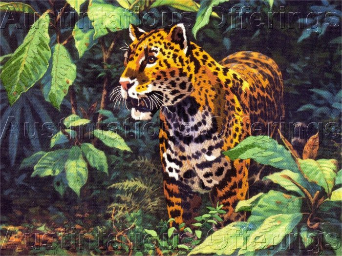 RARE TROPICAL CREWEL EMBROIDERY KIT JUNGLE CAT JAGUAR