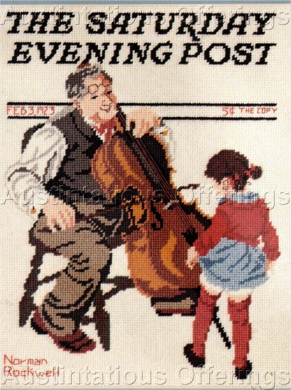 RARE NORMAN ROCKWELL NEEDLEPOINT KIT GRANDPA'S VIOLIN GRANDCHILD