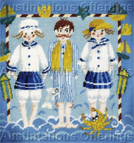 VICTORIAN SUMMER SEASIDE SWIMSUITS NEEDLEPOINT KIT BEACH BOATS