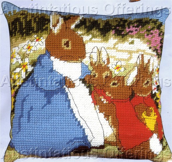 RARE BEATRIX POTTER LARGE COUNT NEEDLEPOINT PILLOW KIT MRS RABBIT