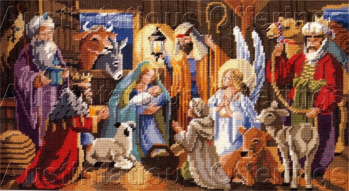 RARE NANCY ROSSI INSPIRATIONAL HOLIDAY CHRISTMAS NEEDLEPOINT KIT NATIVITY STABLE