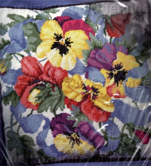 RARE SPRING PANSIES NEEDLEPOINT PILLOW KIT BARBARA BAATZ PANSY