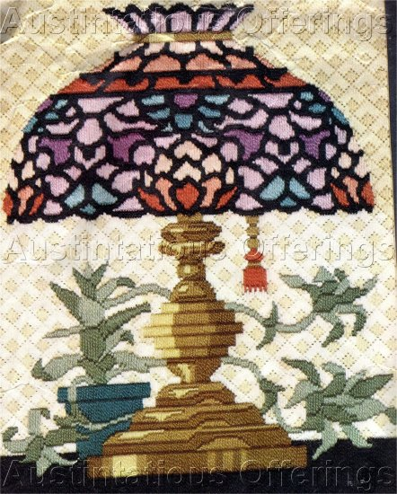 RARE TIFFANY STAINED GLASS  TEXTURED LONGSTITCH NEEDLEPOINT KIT VINTAGE GLASS LAMP