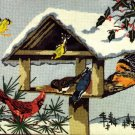RARE SNOWY WINTER BIRD FEEDER NEEDLEPOINT KIT CARDINAL ORIOLE