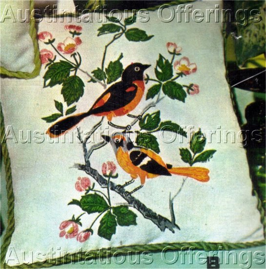 ORIOLES CREWEL EMBROIDERY  PILLOW KIT