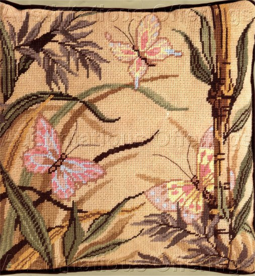 NEEDLEPOINT  BUTTERFLY BAMBOO PILLOW KIT 1988