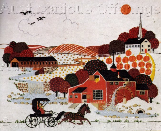 RARE  WYSOCKI HARVEST TIME TRAVEL FOLK ART CREWEL EMBROIDERY KIT PUMPKIN FIELDS