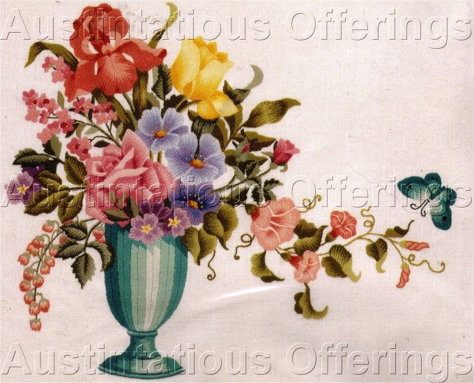 RARE WILLIAMS FORMAL FLORAL VASE CREWEL EMBROIDERY KIT MICHAEL LECLAIR
