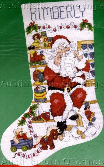 RARE REHFELD SANTA CLAUS IN TOYSHOP CROSS STITCH CHRISTMAS STOCKING KIT