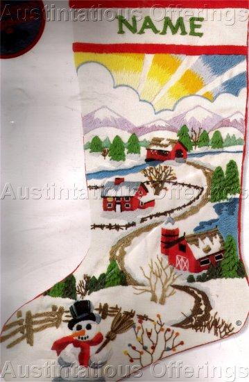 RARE FOLK ART FARM SUNRISE CREWEL EMBROIDERY CHRISTMAS STOCKING KIT JENNINGS SNOWMAN AT DAWN