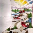 RARE FOLK ART FARM SUNRISE CREWEL EMBROIDERY CHRISTMAS STOCKING KIT JENNINGS SNOWMAN AT DAWN