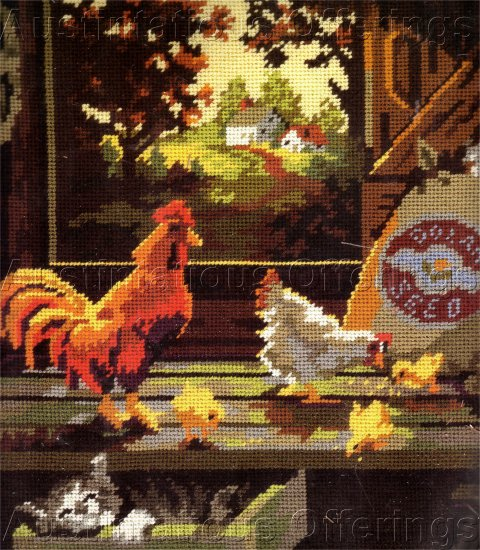 RARE DAN TROTTER FARM WINDOW  NEEDLEPOINT KIT CHICKEN COOP VIEW
