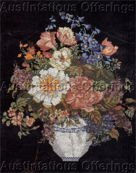 DRAMATIC PEONY FLORAL VASE CROSS STITCH KIT STRIKING BLACK BACKGROUND