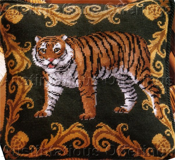 RARE CLASSIC TIGER PORTRAIT HAND PAINTED NEEDLEPOINT KIT PENELOPE MESH