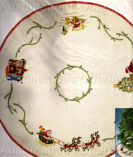 ULTRA RARE JENNINGS CREWEL EMBROIDERY TREE SKIRT KIT NIGHT BEFORE CHRISTMAS TABLECLOTH