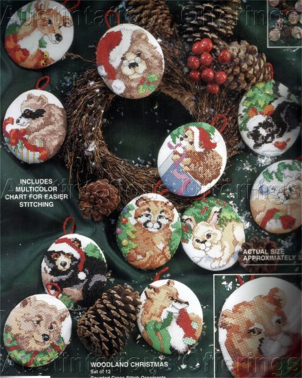 HARD TO FIND GILLUM CHRISTMAS  WOODLAND CRITTERS CROSS STITCH  KIT ORNAMENTS SET