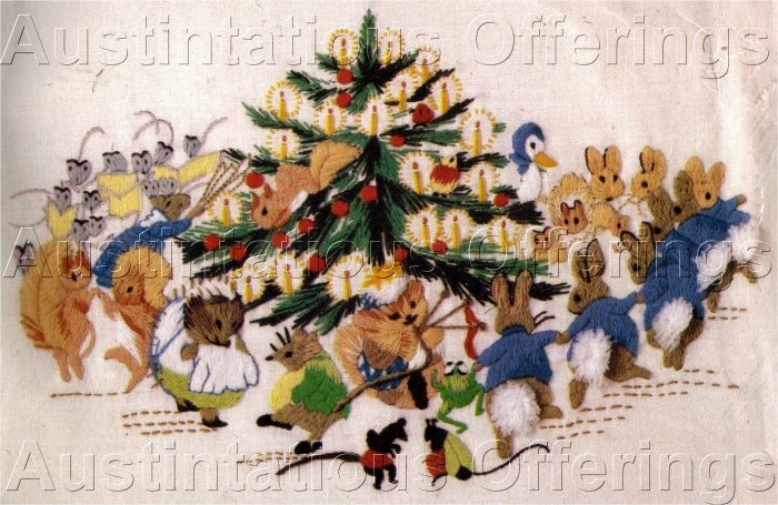 RARE WILSON BEATRIX POTTER CREWEL EMBROIDERY KIT RABBITS CHRISTMAS PARTY