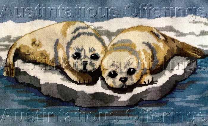 RARE HARP SEAL PUPS WOOL NEEDLEPOINT KIT SEA PUPPIES