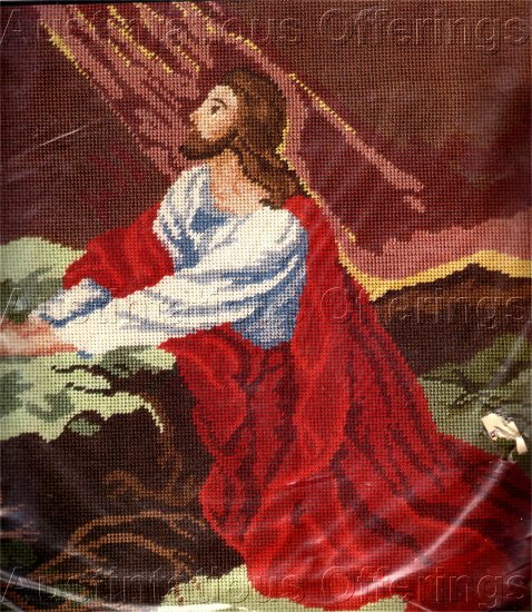 RARE HEINRICH HOFMANN REPRODUCTION INSPIRATIONAL NEEDLEPOINT KIT KNEELING JESUS CHRIST GESTHEMANE