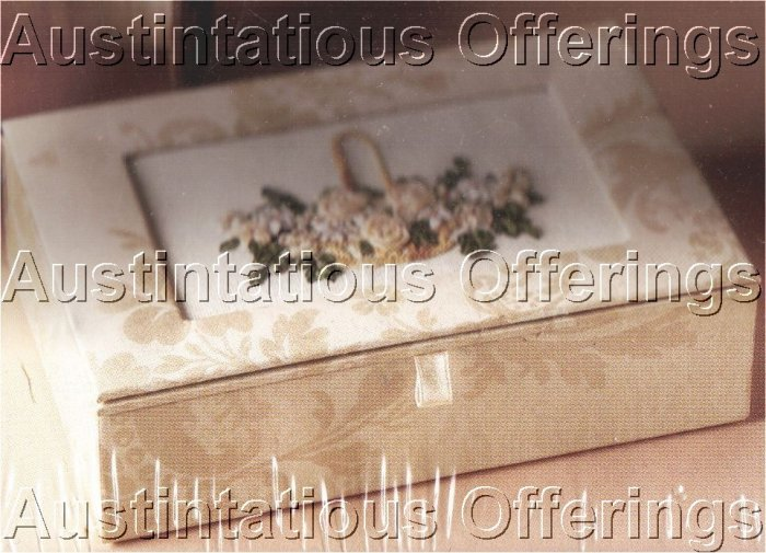 ANNA GRIFFIN SILK RIBBON IVORY DAMASK KEEPSAKE TRINKET BOX EMBROIDERY KIT