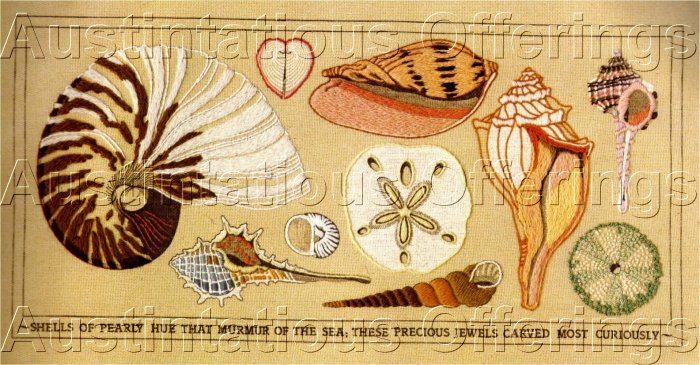 RARE POWELL OCEANSIDE TREASURES CREWEL EMBROIDERY KIT SHELLS SEA SHORE