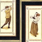 HARD TO FIND NOSTALGIC COUPLE VINTAGE GOLF CROSS STITCH KIT  VICTORIAN GOLFING PARTNERS