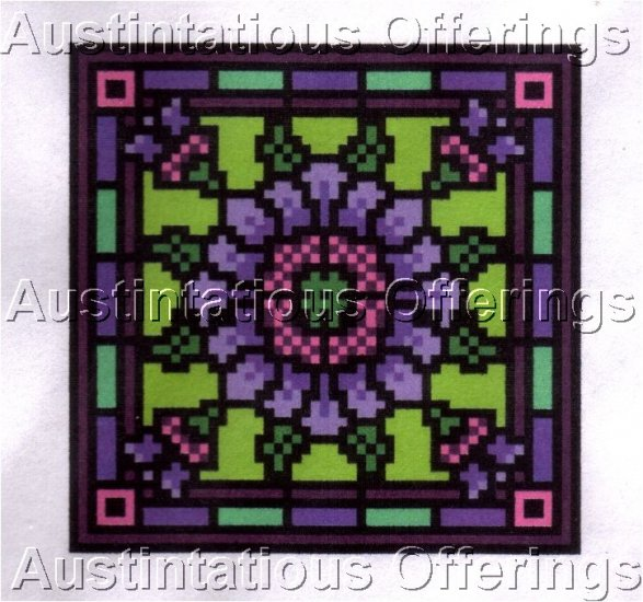 LANDMARK TAPESTRIES CORNFLOWER PIN CUSHION CROSS STITCH CHART NOT KIT VICTORIAN STAINED GLASS STYLE