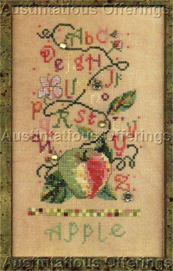 SISTERS & BEST FRIENDS FRUIT SALAD CROSS STITCH SAMPLER APPLE  CHART/ LEAFLETTE NOT KIT