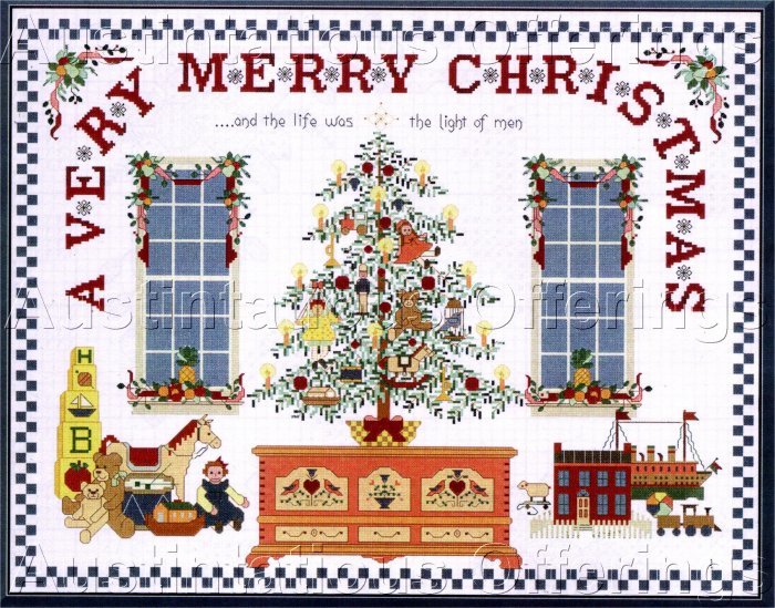 VERY MERRY CHRISTMAS CROSS STITCH CHART NOT KIT