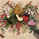 Rare Linda Jary BeesKeep Evenweave Cross Stitch Kit Gardening Fruit Florals Veggies