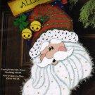Rare Sparkle Santa Claus Needlepoint Stocking Kit Jingle Bells