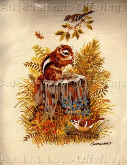 WOODLAND CHIPMUNK AND BIRDS CREWEL EMBROIDERY KIT GIORDANO