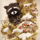 WOODLAND RACCOON  AND WINTER BIRD CREWEL EMBROIDERY KIT GIORDANO