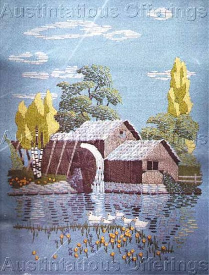 Mabry Mill Crewel Embroidery Kit Vintage Grist Water Mill