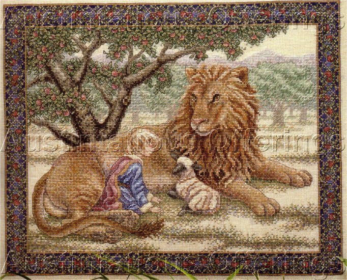 HARD TO FIND WENTZLER INSPIRATIONAL CROSS STITCH KIT PEACEABLE KINGDOM