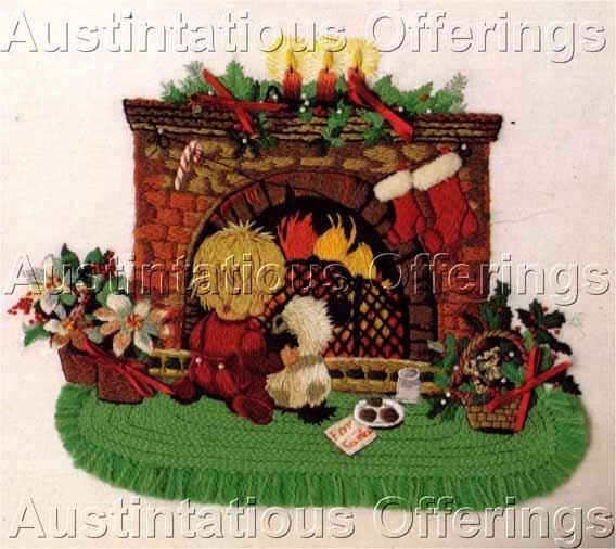 RARE CHRISTMAS FIREPLACE CREWEL EMBROIDERY KIT WAITING FOR SANTA