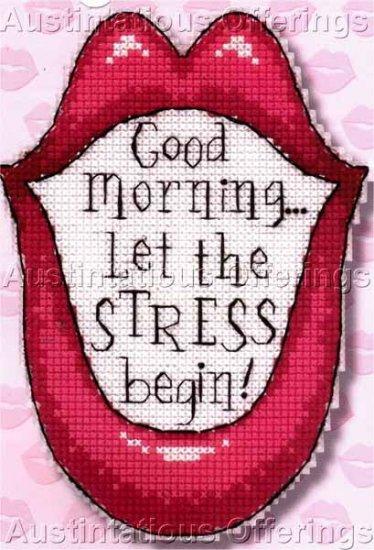 MORNING STRESS CROSS STITCH MAGNET KIT LIPS