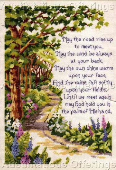 Inspirational Irish  Blessing Sampler Cross Stitch Kit Kratz May the Road Rise