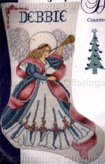 Elegant Pink Roses & Ribbons Angel Beaded Cross Stitch Stocking Kit