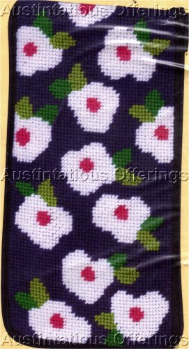PREASSEMBLED NAVY FLORAL NEEDLEPOINT EYEGLASS/CELL PHONE CASE