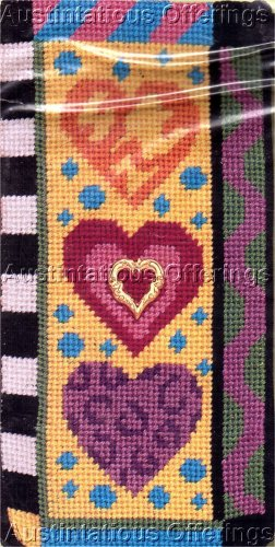 PREASSEMBLED NEEDLEPOINT COLORFUL HEARTS EYEGLASS/CELLPHONE CASE