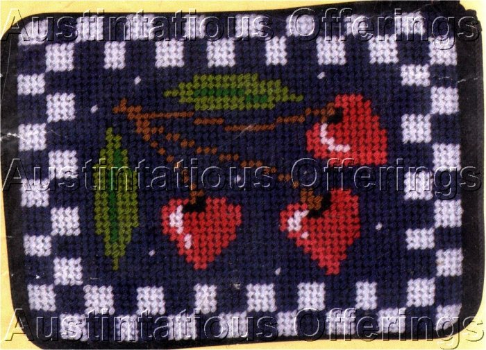 PREASSEMBLED CHERRY HEARTS NEEDLEPOINT COIN  CREDIT CARD PURSE CASE KIT