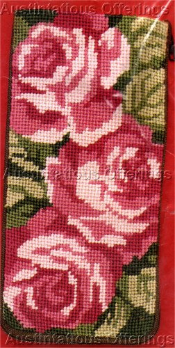 Preassembled Pink Cabbage Roses Eyeglass /Cell Phone Case Needlepoint Kit