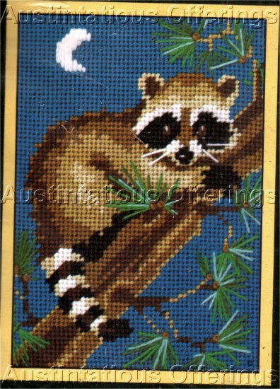 MIDNIGHT  RACCOON NEEDLEPOINT KIT BANDIT ON BRANCH