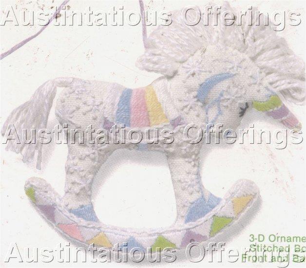 RARE ROSSI PASTEL ROCKING HORSE UNICORN 3D ORNAMENT CREWEL EMBROIDERY KIT