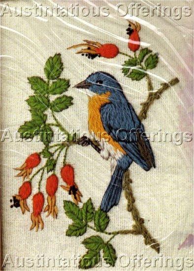 RARE LINDA POWELL BLUE BIRD FLOWER ANIMAL CREWEL EMBROIDERY KIT